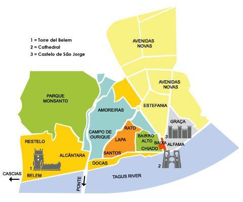 mappa dove alloggiare lisbona
