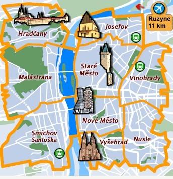 quartieri Praga dove dormrie mappa