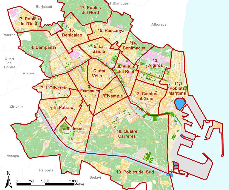 valencia-mappa quartieri
